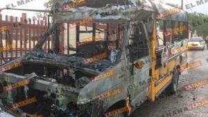 Se incendia transporte escolar en colonia Granjas Económicas