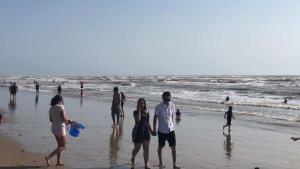 Disfrutan de la arena y el mar