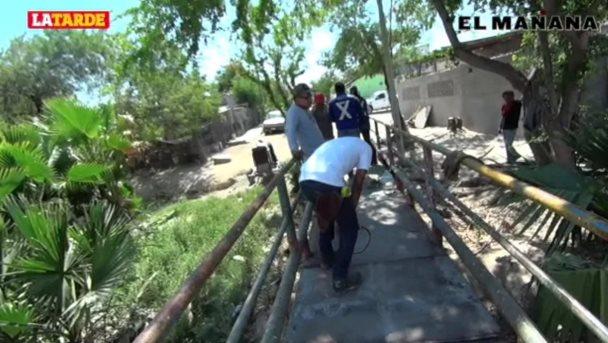 Reparan puente peatonal en la José López Portillo