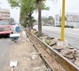 Rehabilitan cordones en el boulevard  Morelos