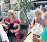 Hace entrega Cruz Roja de despensas y agua purificada