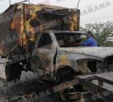 Se incendia camión distribuidor de lácteos