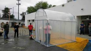 Instalan túneles sanitizantes en Tamaulipas contra el Covid-19