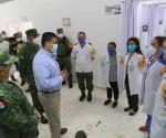 Visita gobernador Unidad Operativa de Hospitalización Covid de la Sedena en Nuevo Laredo