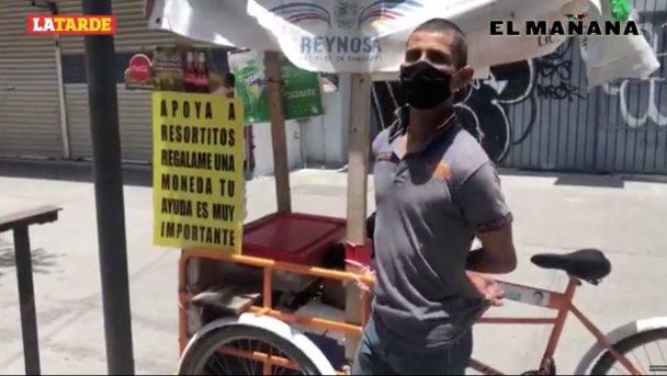 """Pandemia obliga a payaso """"Resortitos"""" a vender aguas, pan y antojitos por las calles de Reynosa"""