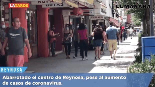 Abarrotado el centro de Reynosa, pese al aumento de casos de coronavirus