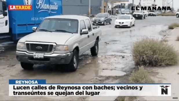 Baches destruyen las calles de Reynosa
