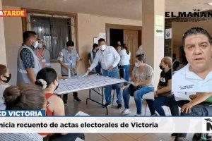 #CDVICTORIA Inicia recuento de actas electorales de Victoria