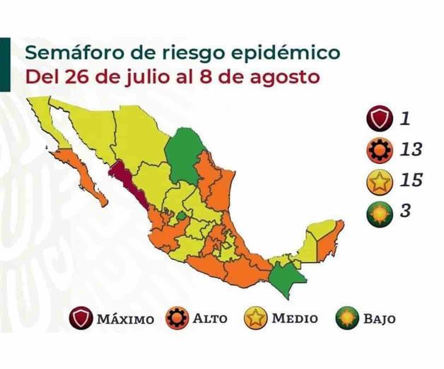 Suman 15 estados en amarillo, 13 naranja