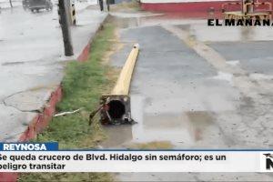 Se queda crucero de Blvd. Hidalgo sin semáforo; es un peligro transitar