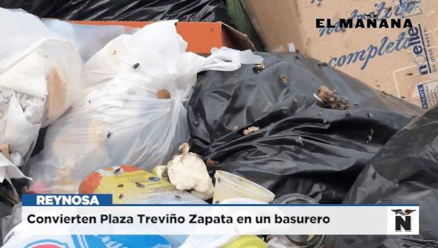 Convierten Plaza Treviño Zapata en un basurero